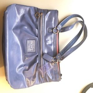 COACH Poppy Blue Glam Purse Patent Leather Tote